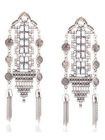 Store Vintage Rhinestone Chain Tassel Hollow Out Earrings SILVER
