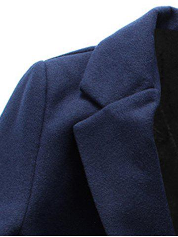 Discount Turndown Collar Single Breasted Flocking Woolen Blends Coat - 3XL CADETBLUE Mobile