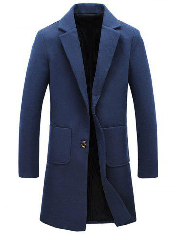 Unique Turndown Collar Single Breasted Flocking Woolen Blends Coat - 3XL CADETBLUE Mobile