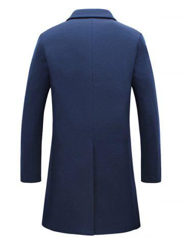 Chic Turndown Collar Single Breasted Flocking Woolen Blends Coat - 3XL CADETBLUE Mobile
