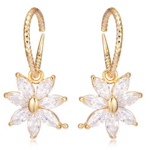 Sale Rhinestoned Floral Drop Earrings GOLDEN