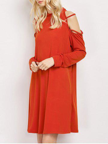 Cold Shoulder Strappy Loose Long Sleeve Dress - Red - S