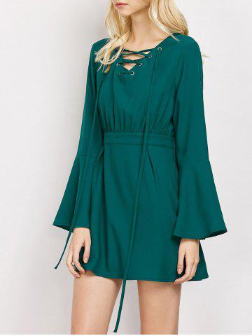 Lace-Up Flare Sleeve A-Line Dress - Green - L
