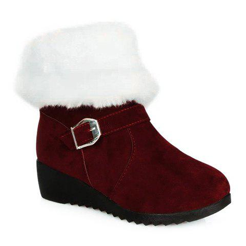 Unique Fur Trim Wedge Heel Mid Calf Boots - 37 WINE RED Mobile