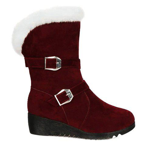 Chic Fur Trim Wedge Heel Mid Calf Boots - 37 WINE RED Mobile
