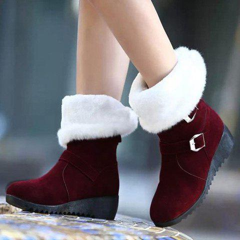 Shop Fur Trim Wedge Heel Mid Calf Boots - 37 WINE RED Mobile