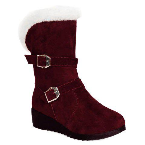 Trendy Fur Trim Wedge Heel Mid Calf Boots WINE RED 38