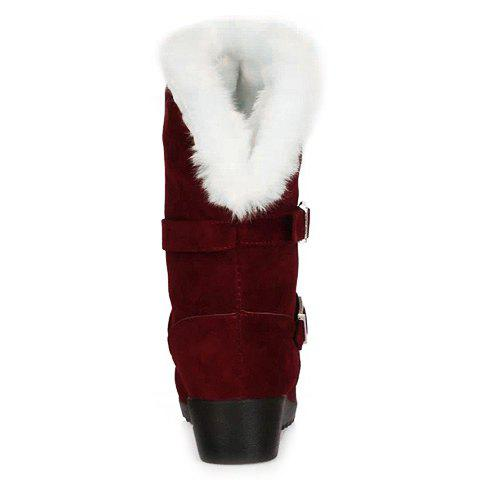 Affordable Fur Trim Wedge Heel Mid Calf Boots - 38 WINE RED Mobile