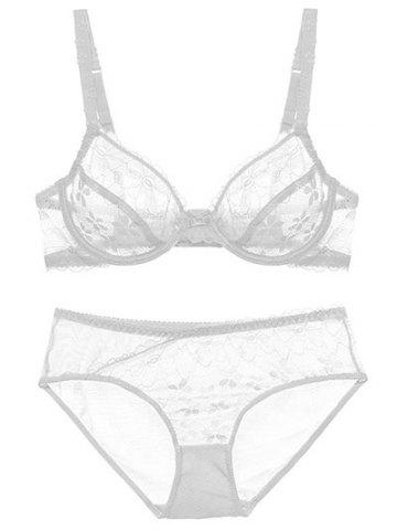 Cheap Push Up Lace Sheer Low Cut See Through Bra Set - 85B WHITE Mobile