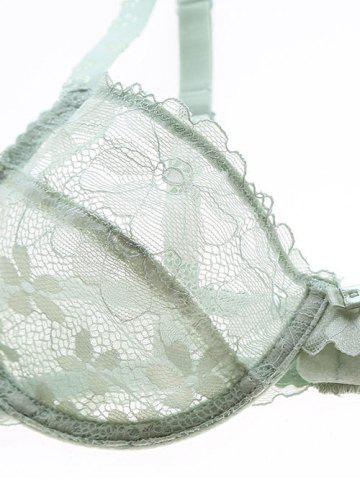 Trendy Push Up Lace Sheer Low Cut See Through Bra Set - 80A GREEN Mobile