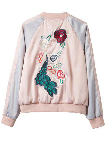 Best Embroidered Glossy Satin Bomber Jacket - M PINK Mobile