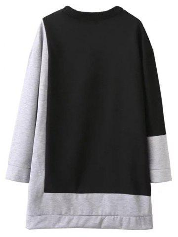 Outfit Color Block Oversized Sweatshirt Dress - S BLACK AND GREY Mobile