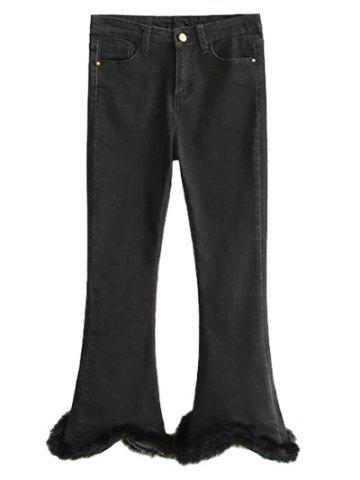 Unique Fuzzy Ninth Flare Jeans - XL BLACK Mobile