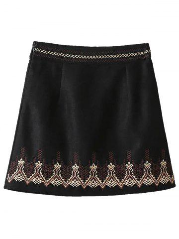 Unique Embroidered Corduroy A-Line Skirt