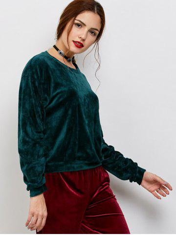 Outfit Velvet Oversized Casual Sweatshirt - ONE SIZE BLACKISH GREEN Mobile