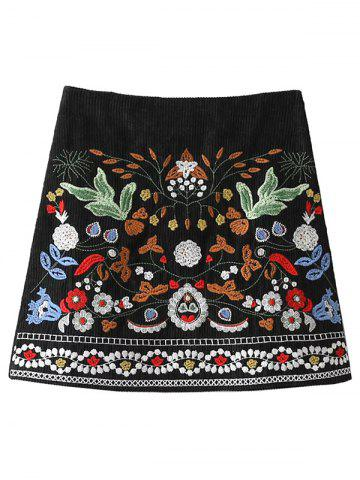 Best Floral Embroidered Corduroy A-Line Skirt