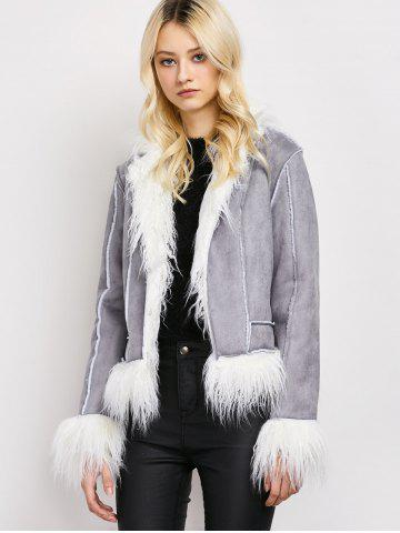 Outfits Faux Fur Faux Suede Sherpa Jacket - L GRAY Mobile