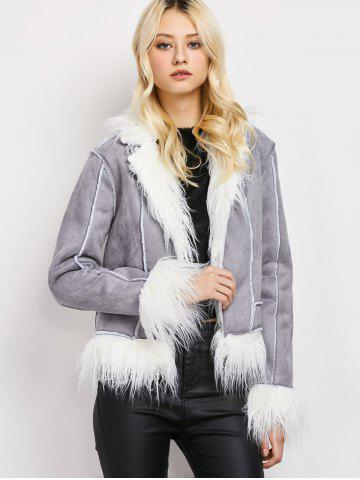 Outfits Faux Fur Faux Suede Sherpa Jacket - M GRAY Mobile