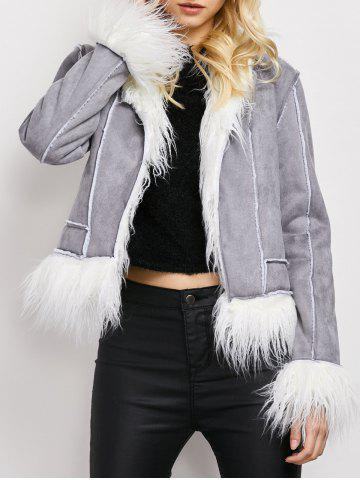 Latest Faux Fur Faux Suede Sherpa Jacket - S GRAY Mobile