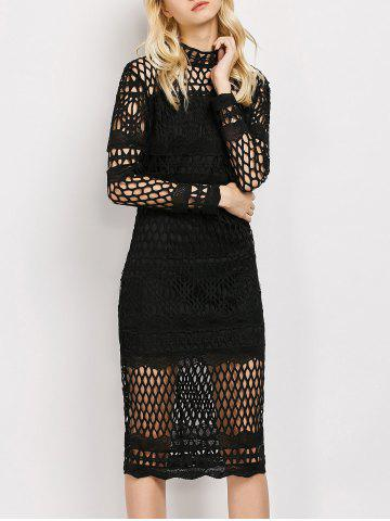 Affordable Long Sleeve Sheer Fishnet Lace Party Dress BLACK M