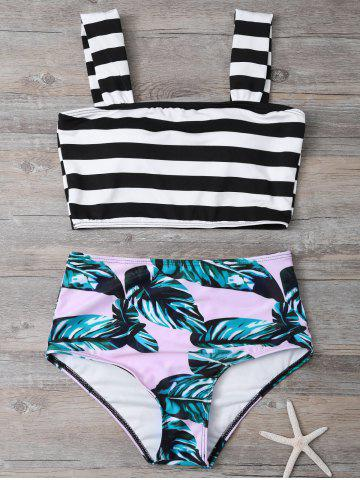 Shop Tropical Print High Waisted Bikini with Crop Top COLORMIX S