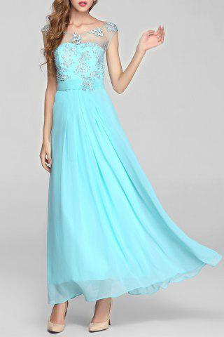 Beaded Sheer Backless Maxi Cocktail Prom Dress - Ice Blue - L