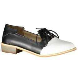 Sweet Color Block and Lace-Up Design Women's Flat Shoes - BLACK