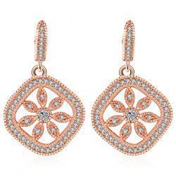 Rhinestone Hollowed Floral Drop Earrings