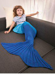 Color Block Warm Mermaid Free Knitted Blankets For Kids - BLUE