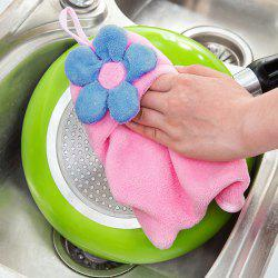 Coral Fleece Floral Strong Absorbent Hanging Hands Towel - PINK