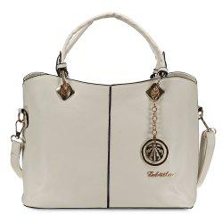 Fashion PU Leather and Pendant Design Women's Tote Bag - OFF-WHITE