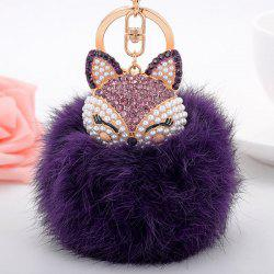 Fake Pearl Rhinestone Fox Fuzzy Puff Ball Keychain - PURPLE