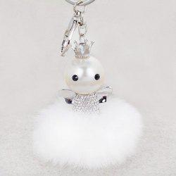 Rhinestone Artificial Pearl Fuzzy Clip Ball Keychain - SILVER AND WHITE