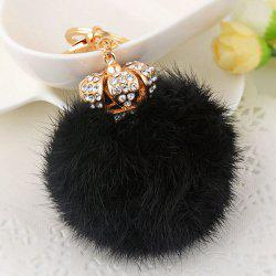 Rhinestone Crown Fuzzy Puff Ball Keychain