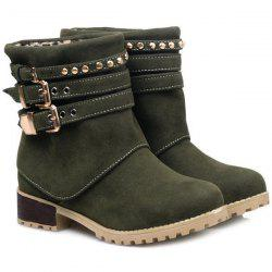 Metal Buckle Slip On Suede Ankle Boots - GREEN 39