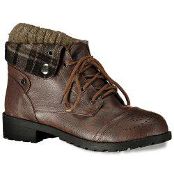 Retro Engraving and Lace-Up Design Women's Sweater Boots - BROWN