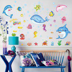 3D Cartoon Seaworld Removable Animal Wall Decals For Nursery