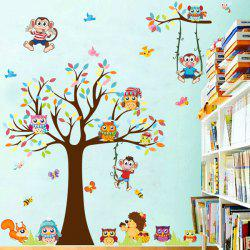 Kids Room Cartoon Monkey and Tree Wall Decals For Nursery