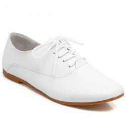 Faux Leather Round Toe Flat Shoes - WHITE
