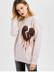 Crew Neck Heart Print Tunic Sweater
