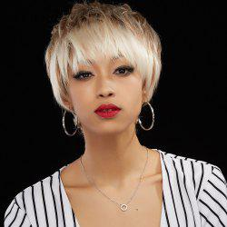 Fashion Short Boy Cut Capless Fluffy Straight Mixed Color Human Hair Wig For Women