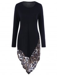 Leopard Print Asymmetric T-Shirt Dress