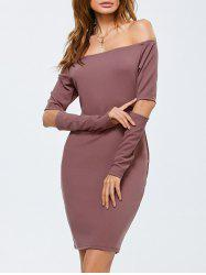 Off Shoulder Cut Out Long Sleeves Dress