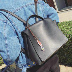 Faux Leather Snap Closure Backpack
