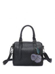Faux Leather Straps Pompon Handbag