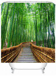 Bamboo Landscape Waterproof Shower Curtain with Hooks