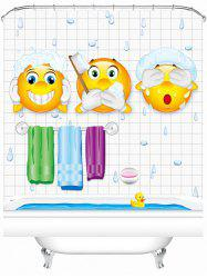 Cartoon Pattern Waterproof Shower Curtain with Hooks