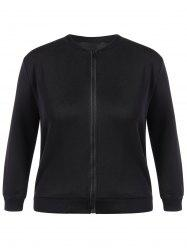 Plus Size Zip Up Jacket - BLACK