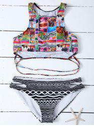 Racerback Tropical Animal Print Bikini