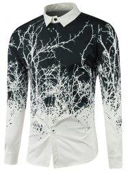 Turndown Collar Tree Branch Printed Shirt - WHITE